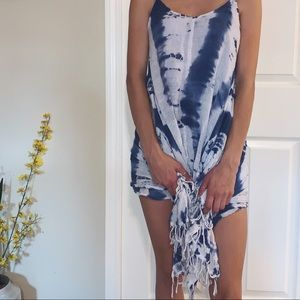 Blue & White Tie Dye Swim Cover Up